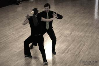 Mindy (Owner of Stumptown Dance) and good friend Sam performing their signature Lindy Hop routine.