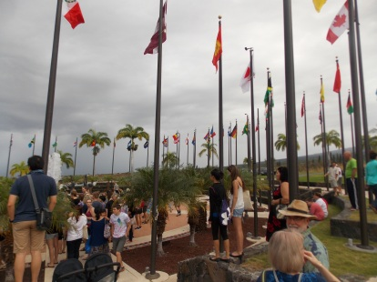 Gathering in the Plaza of Nations; right before the rain started